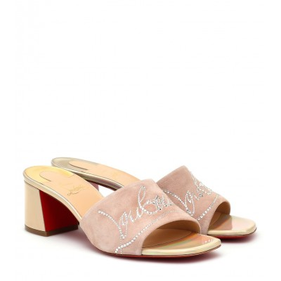 Christian Louboutin Shoes Dear Home 55 embellished suede sandals sale next P00467041