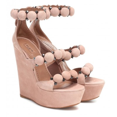 Alaïa Womens Shoes Bombe suede wedge sandals P00433370
