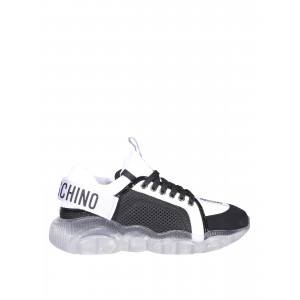 Moschino Women Leather and fabric sneakers inexpensive MA15113G0CMR300A